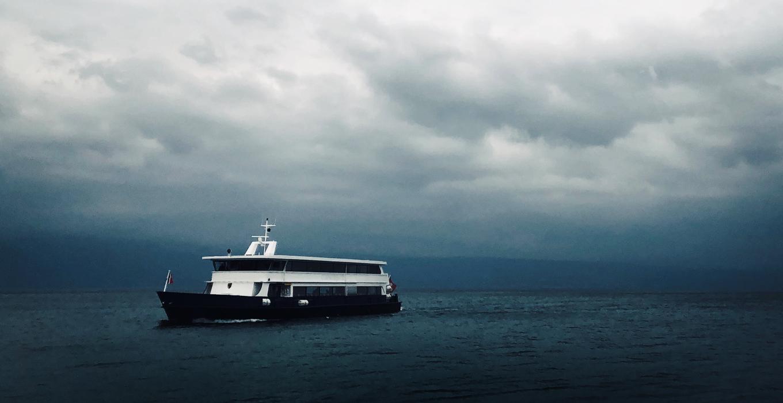 Fähre im Meer